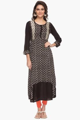 BIBA Womens Round Neck Printed Tunic