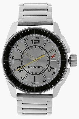FASTRACKMens Grey Dial Stainless Steel Strap Watch