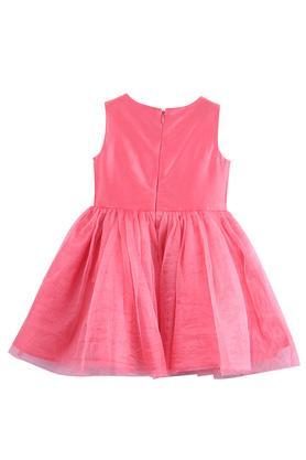 Girls Round Neck Applique Flared Dress