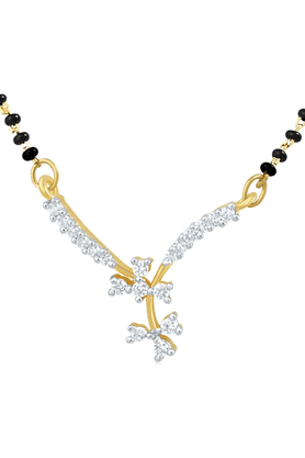 MAHI Gold Plated Mangalsutra Pendant With CZ For Women PS1191486G