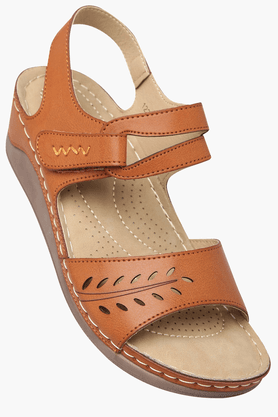 HAUTE CURRY Womens Daily Wear Velcro Closure Wedge Sandal