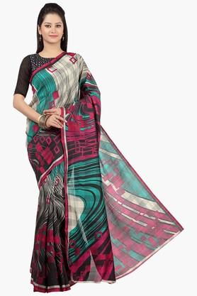 JASHN Womens Printed Tassar Silk Saree