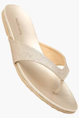 HAUTE CURRYWomens Party Wear Slipon Flat Sandal