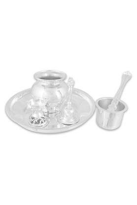 WAMAN HARI PETHESilver Pooja Set SPUJAD15051286 (Free 10 Gm Silver Coin On Every Purchase Above Rs. 10,000)