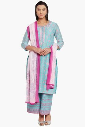 BIBA Womens Poly Cotton Straight Suit Set - 202179531