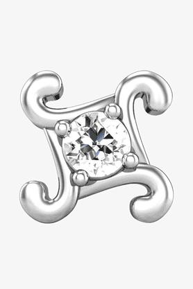 VELVETCASEWomens 18 Karat White Gold Nose Ring (Free Diamond Pendant) - 201065035