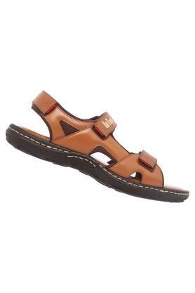 Mens Leather Velcro Closure Sandals