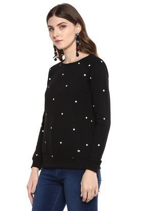 Womens Round Neck Polka Dot Sweatshirt