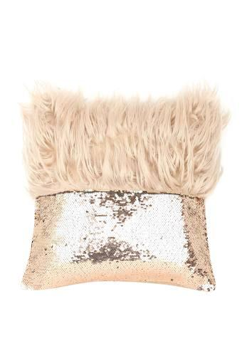 Square Fur Sequins Embellished Cushion Cover
