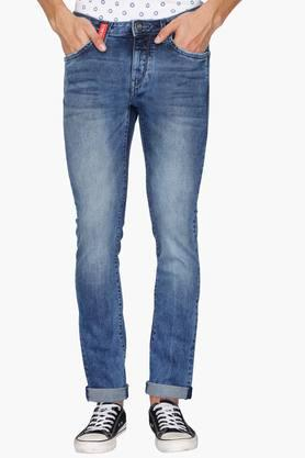 FLYING MACHINE Mens 5 Pocket Skinny Fit Heavy Wash Jeans (Jackson Fit) - 202044722