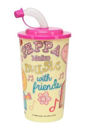 Unisex Cylindrical Peppa Pig and Friends Sipper with Straw - 450ml