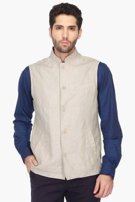 INDIAN TERRAIN Mens Regular Fit Solid Nehru Jacket (Bandhgala Fit)