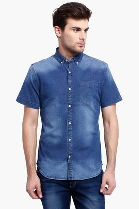 Blue Saint Formal Shirts (Men's) - Mens Blue Denim Casual Shirt