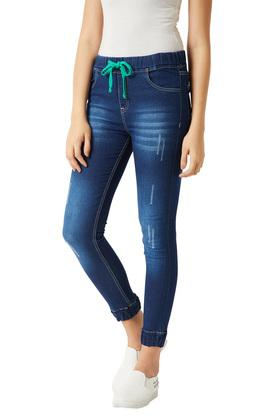 Womens Relaxed Fit Mid Rise Whiskered Effect Stretchable Joggers