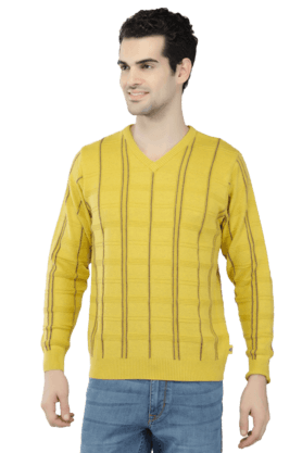 MONTE CARLO Mens Full Sleeves V Neck Slim Fit Check Sweatshirts