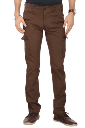 INDIAN TERRAIN Mens 7 Pocket Slim Fit Solid Cargos