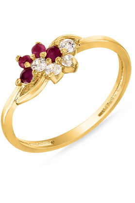 MAHI Mahi Gold Plated Luxe Ring With Ruby And CZ Stones For Women FR1100314G