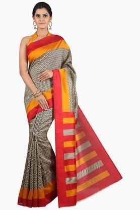JASHN Women Tussar Silk Printed Saree  ... - 201860666
