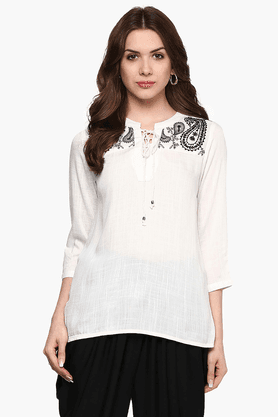 FUSION BEATS Womens Slim Fit Embroidered Top