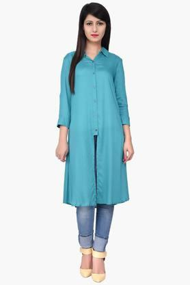 JUNIPER Women Front Slit Plain Long Shirt Kurta - 201932791
