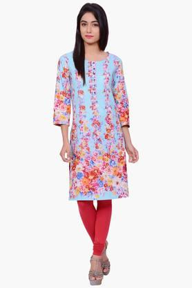 JUNIPER Women Floral Print Cotton Kurta - 201932830