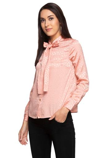 Womens Tie Up Neck Self Printed Shirt