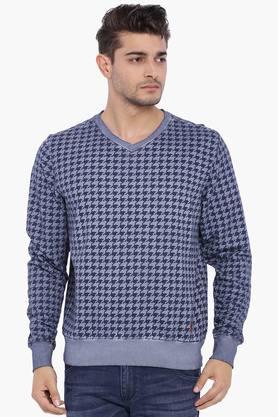 BLUE SAINTMens Blue Printed Sweatshirt