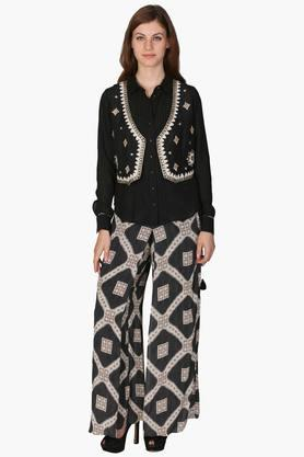 Womens Embroidered Shirt And Printed Pants Set