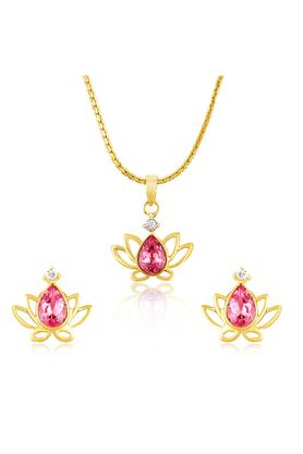 MAHIMahi Gold Plated Lotus Pendant Set With Swarovski Zirconia For Women NL1104134G