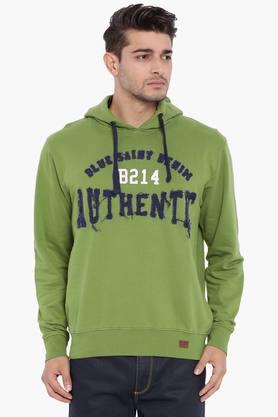 BLUE SAINTMens Green Printed Sweatshirt