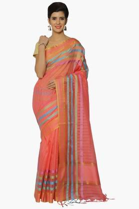 Women Self Woven Checks Chanderi Saree