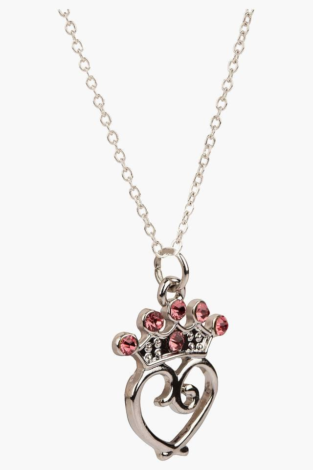 Girls Rhinestone Crown and Heart Necklace (3 Years +)