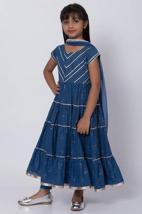 BIBA GIRLS - Blue Salwar Kurta Set - 2
