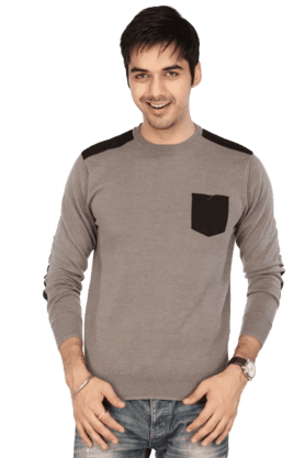 LIFE Men Long Sleeves Slim Fit Round Neck Colour Block Sweatshirt