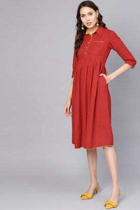 Womens Solid Midi Dress with Pocket Detailing