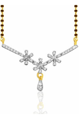 SPARKLES 18 Kt Diamond Mangalsutra With Silver Chain And Black Beads - Pn9324