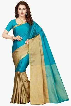 ISHIN Women Poly Cotton Zari Border Saree