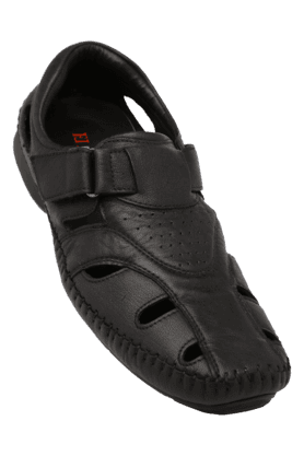FRANCO LEONE Mens Leather Velcro Closure Casual Sandal