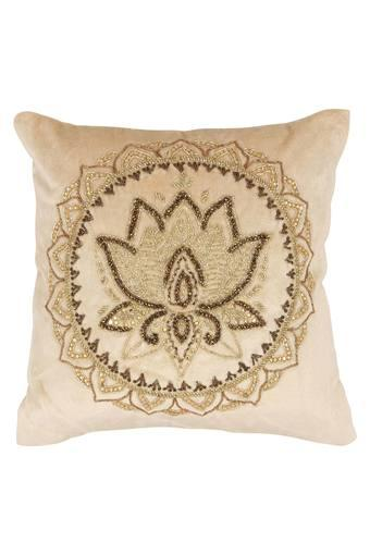Square Lotus Round Embellished Cushion Cover