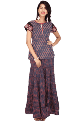 IMARA Women Cotton Printed Kurta And Skirt Set