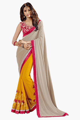 DEMARCA Womens Embroidered Saree - 201151723