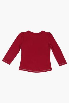 Girls Cotton Round Neck Long Sleeves Printed Tee