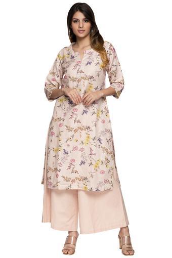 8ce531a2d65 Buy BIBA Womens Notched Collar Floral Print Kurta and Palazzo Set ...