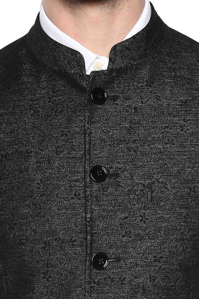 Mens Mandarin Collar Textured Nehru Jacket