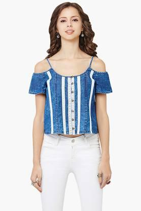 Womens Lace-embellished Round Neck Top