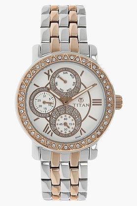 TITANWomens Purple Silver-White Dial Analog Watch