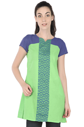 AURELIA Women Block Print Short-sleeved Kurta