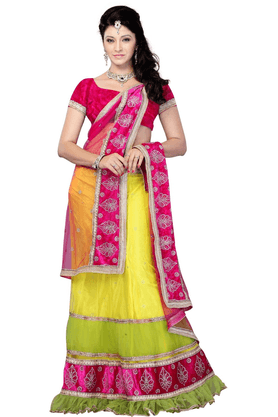 DEMARCA De Marca Multicolor Net::Brocade Designer DF-345B Lehenga Saree
