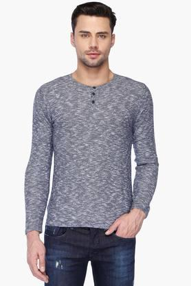 UNITED COLORS OF BENETTON Mens Regular Fit Henley Neck Printed Sweater