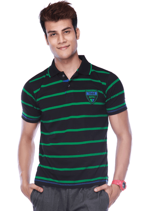 BLACK PANTHER Mens Short Sleeves Regular Fit Stripes Polo T-Shirt - 8894569